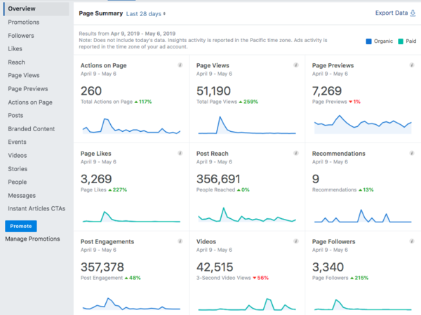 Page Summary from Facebook Insights showing graphis